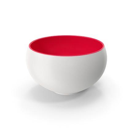 Ceramic Bowl Red White