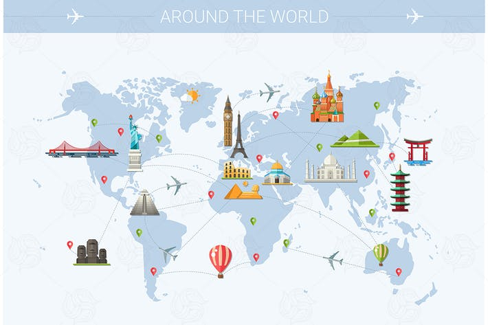Thumbnail for Around the World - flat design style illustration