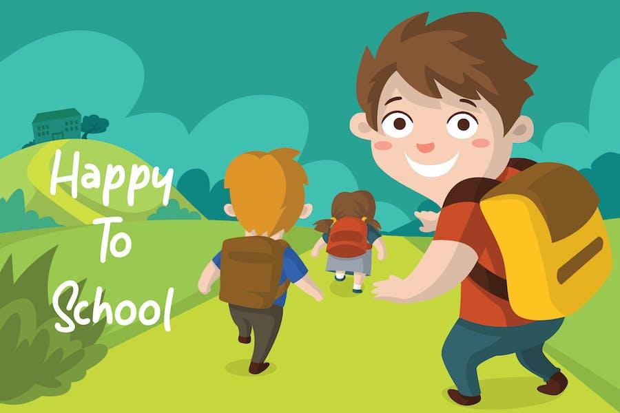 Happy School - Vector Illustration