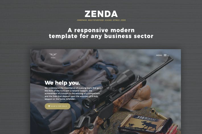 Thumbnail for One Page Landing Page - Zenda