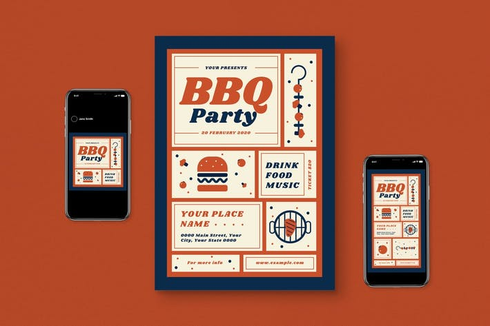 Thumbnail for BBQ Party Flyer Set