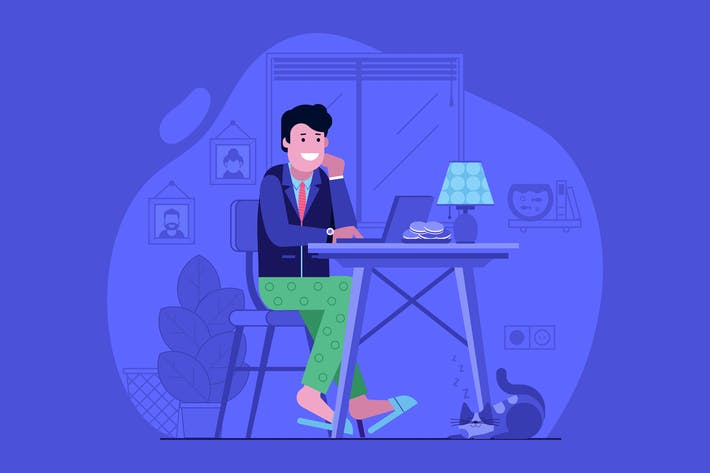 Thumbnail for Freelancer Work from Home Flat Concept