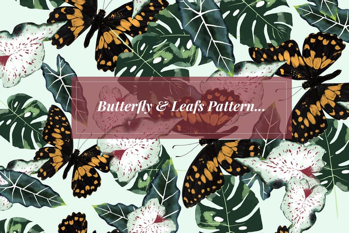 Thumbnail for Butterfly & Leafs Pattern