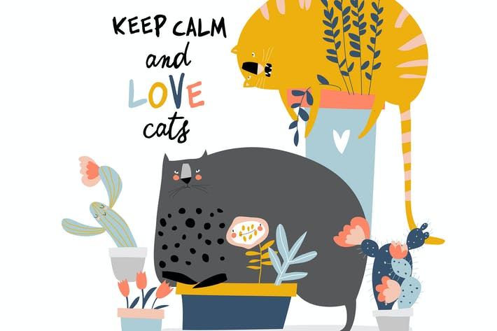 Thumbnail for Cute funny cats sitting in a flower pots on white