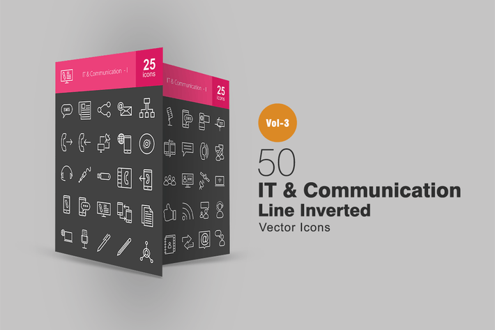 Thumbnail for 50 IT & Communication Line Inverted Icons