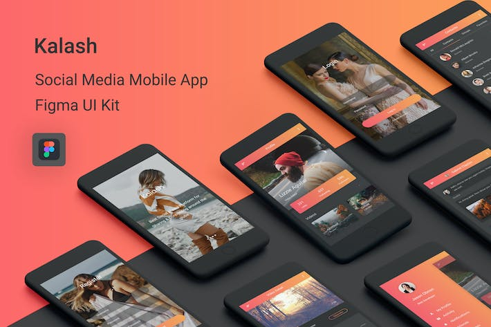 Thumbnail for Kalash - Social Media Mobile App for Figma