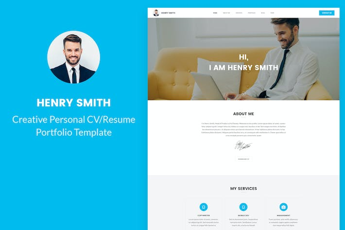 Thumbnail for Creative Personal CV/Resume Portfolio PSD template