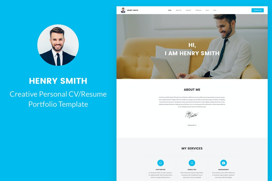 Download Creative Personal CV/Resume Portfolio PSD template by AuThemes