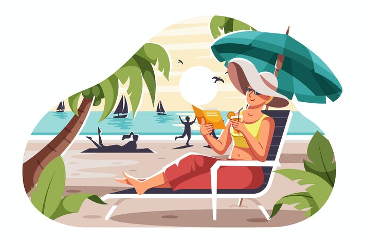 Entspannen Sie sich in Strand-Illu