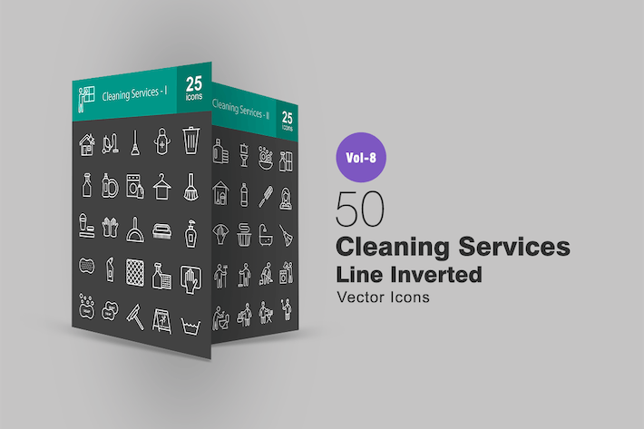 Thumbnail for 50 Cleaning Services Line Inverted Icons