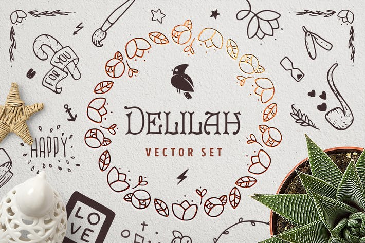 Thumbnail for Delilah – Hand Drawn Vector Set