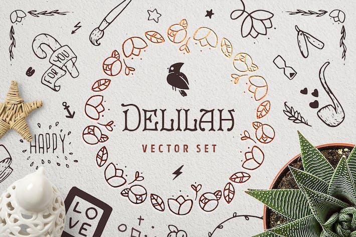 Thumbnail for Delilah — Handgezeichneter Vektor satz