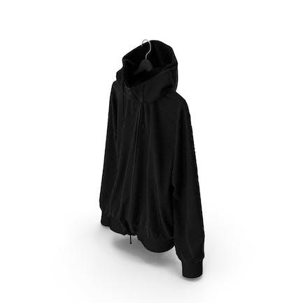 Chaqueta negra en percha