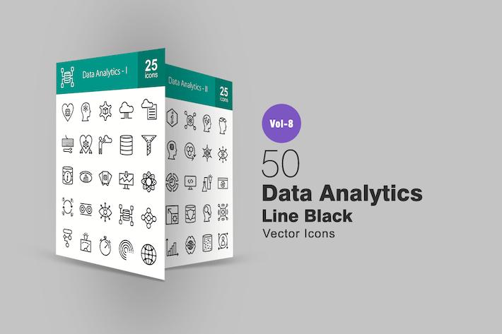 Thumbnail for 50 Data Analytics Line Icons