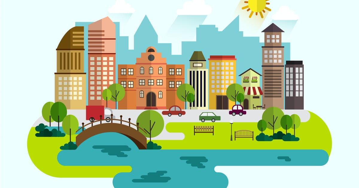 Download Urban landscape with large modern buildings. by jiwstudio