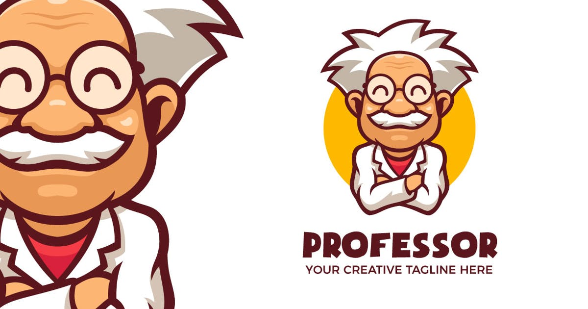 Download Smile Professor Cartoon Mascot Logo Template by MightyFire_STD