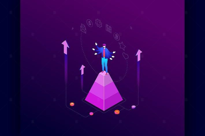 Thumbnail for Multitasking - colorful isometric illustration