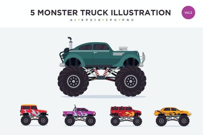 Thumbnail for 5 Monster Truck Vector Illustration Set 2