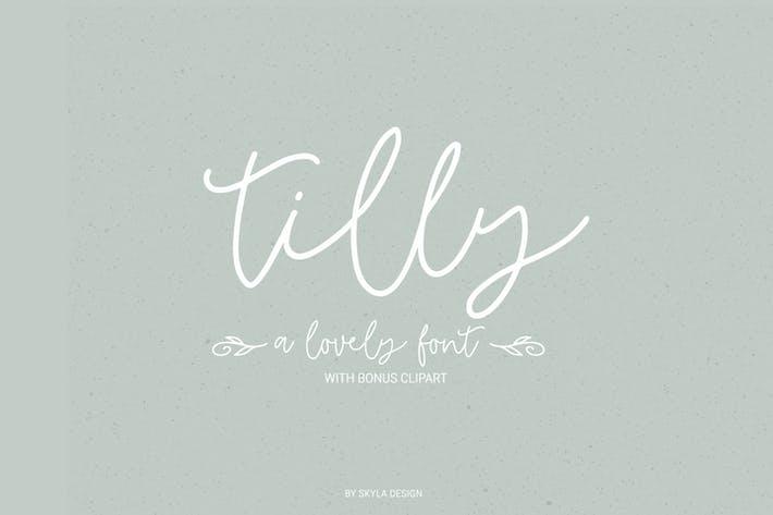 Thumbnail for Tilly, a lovely font & bonus clipart