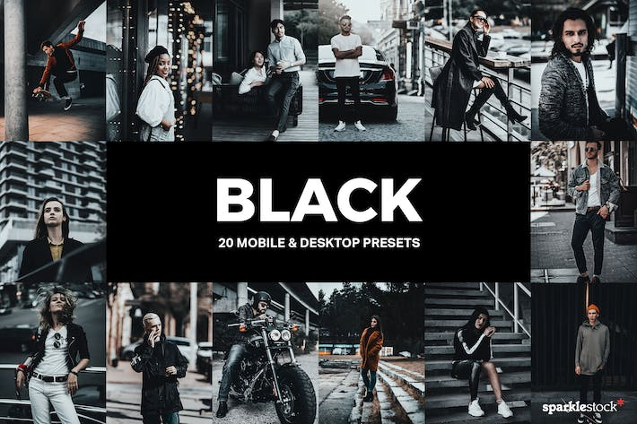 Thumbnail for 20 Black Lightroom Presets and LUTs