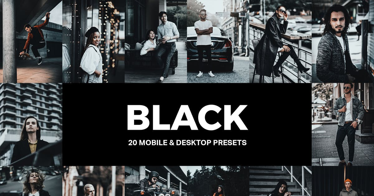 Download 20 Black Lightroom Presets and LUTs by sparklestock