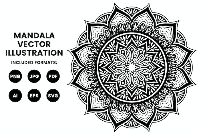 Thumbnail for Mandala Illustration - Coloring Pages