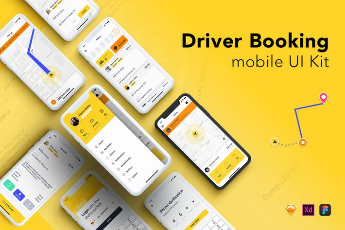 Cover Image For Taxi Driver Booking UI Kit