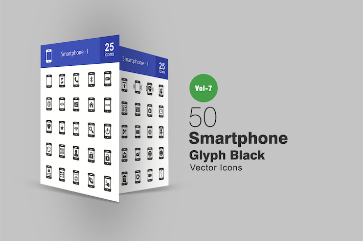 Thumbnail for 50 Smartphone Glyph Icons