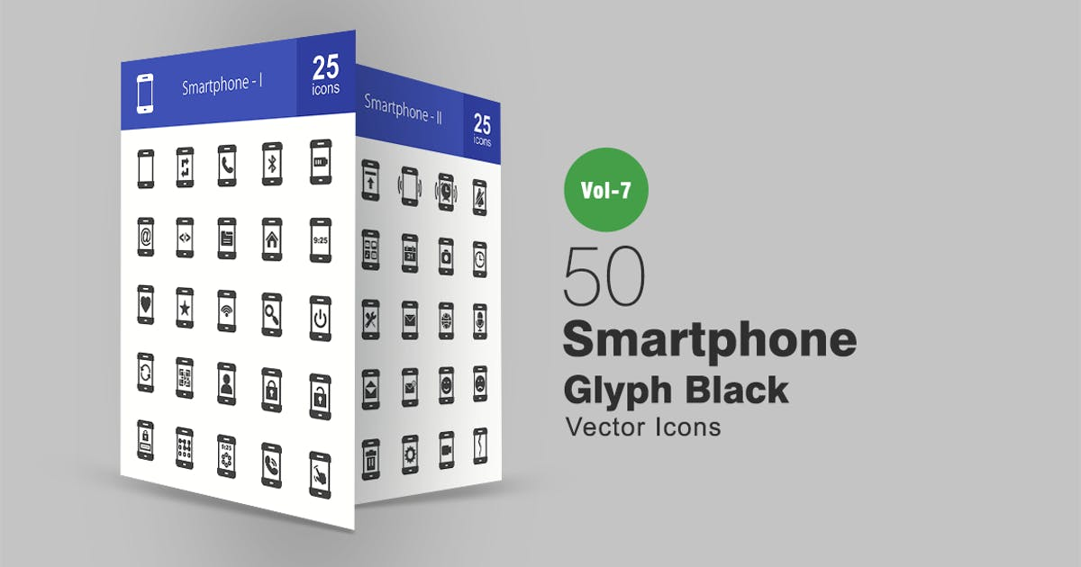 Download 50 Smartphone Glyph Icons by IconBunny