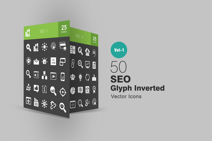 Thumbnail for 50 SEO Glyph Inverted Icons