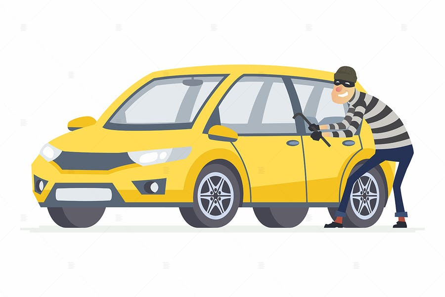 Car thief - cartoon character illustration