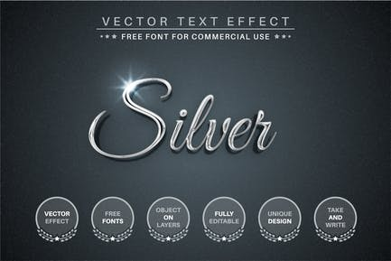 Silver - Editable Text Effect, Font Style