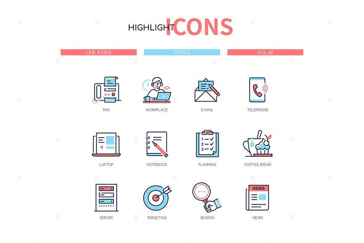 Thumbnail for Office concept - line design style icons set