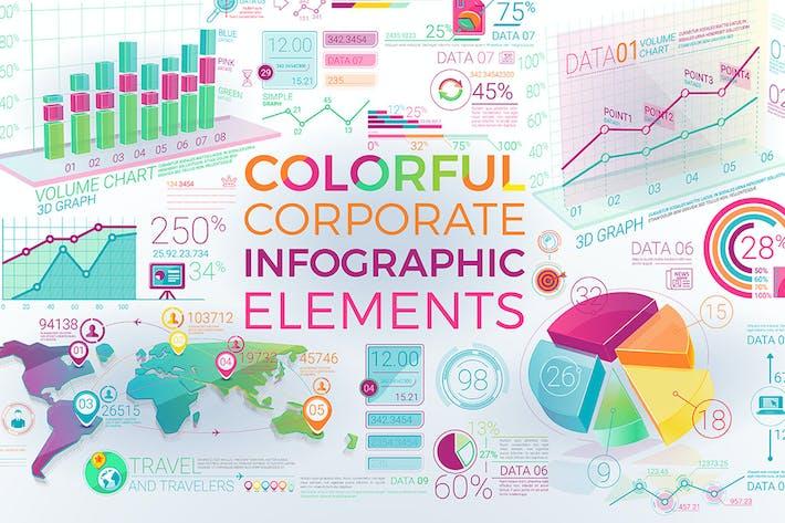 Thumbnail for Éléments d'infographie d'entreprise colorés