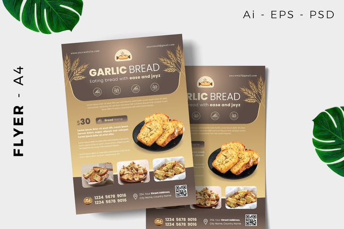 Thumbnail for Garlic Bread Cake Flyer Design