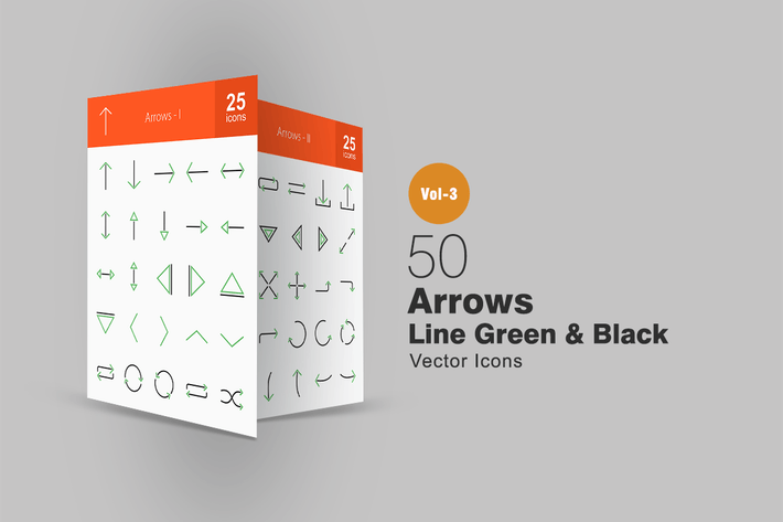 50 Arrows Line Green & Black Icons