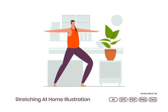 Thumbnail for Stretching At Home Illustration