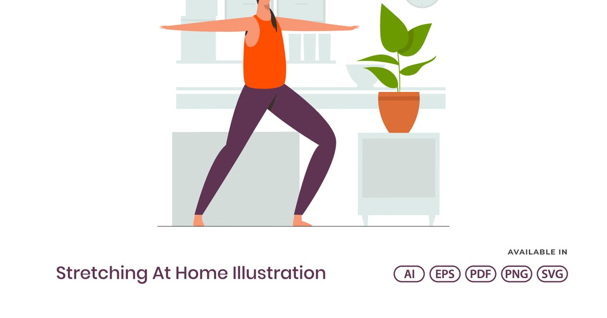 Download Stretching At Home Illustration by visuelcolonie
