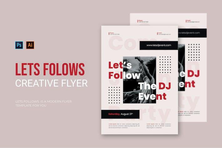 Lets Follows DJ Event - Flyer