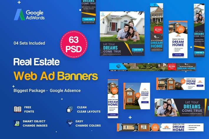 Thumbnail for Real Estate Banners Ads - 63 PSD [04 Sets]