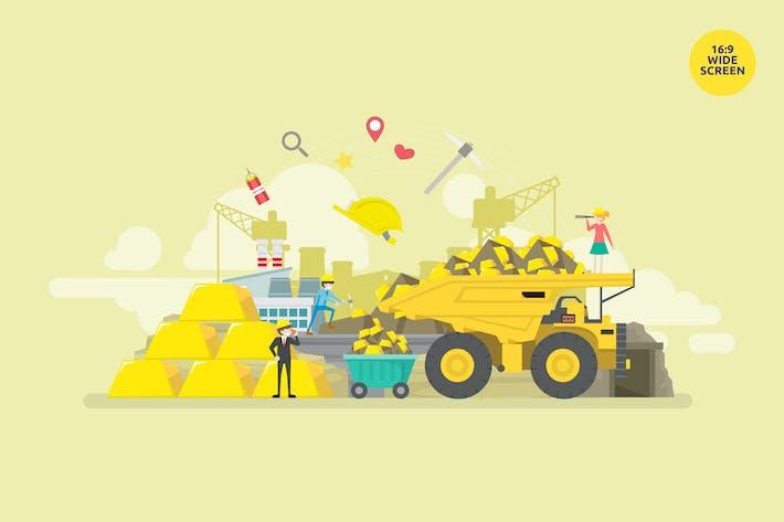 Thumbnail for Gold Mining Industry Vektor Illustration Konzept
