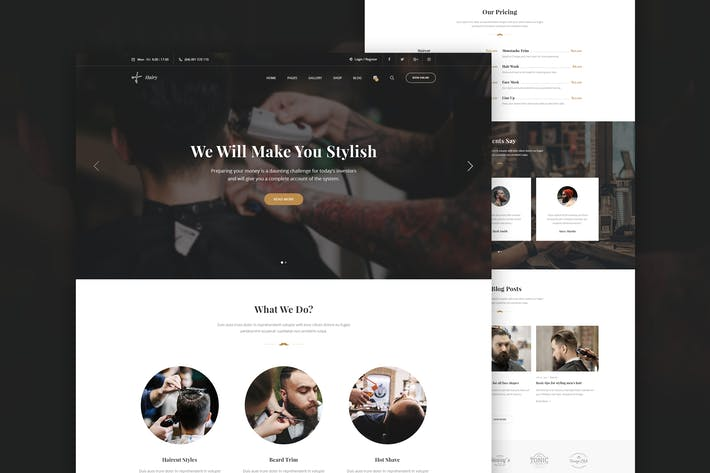 Thumbnail for Hairy - Barber Salon PSD Template