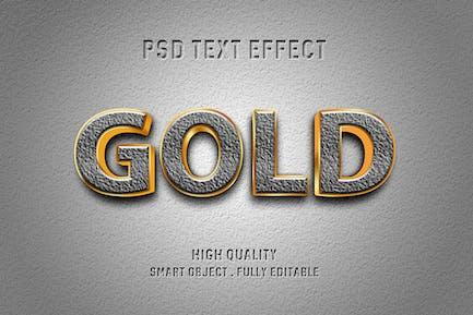 Efecto de oro sobre texto concreto