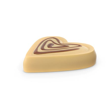 Heart White Chocolate Candy with Caramel Line