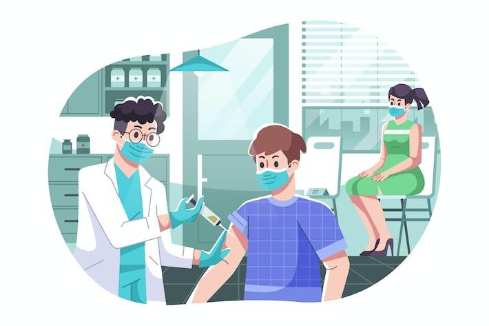 Иллюстрация процесса вакцинации