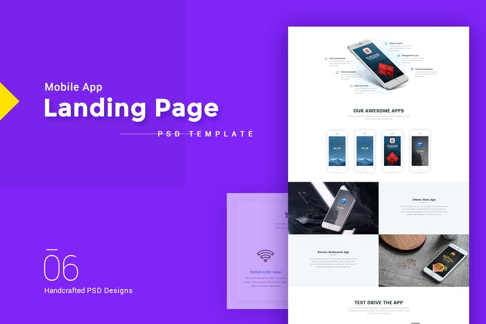 Thumbnail for Mobile App Landing Page PSD Template