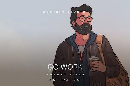 Go Work Illustration