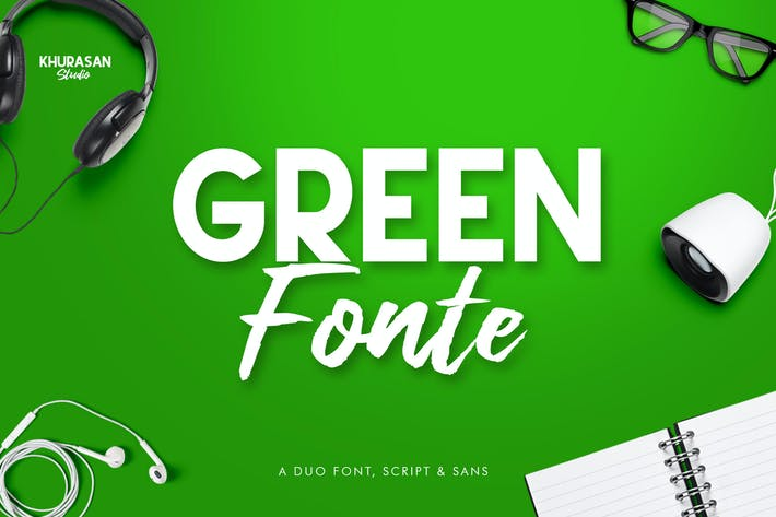 Thumbnail for Green Fonte Font Duo