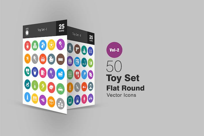 Thumbnail for 50 Toy Set Flat Round Icons