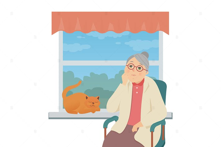 Thumbnail for Senior woman sitting by the window - illustration